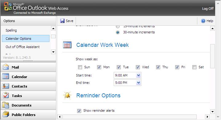 Define work week using options page